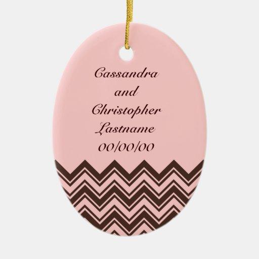 Mariage rose et brun chocolat de zigzag décorations pour sapins de noël