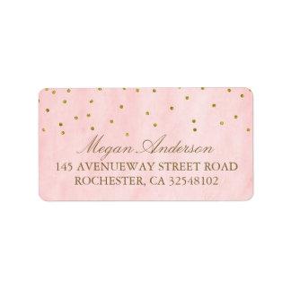Mariage rose vintage de confettis d'or étiquette d'adresse