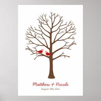 Mariage rouge-brun d'arbre d'empreinte digitale d' poster