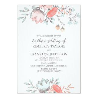 Mariage rustique et vintage de bouquet floral carton d'invitation  12,7 cm x 17,78 cm