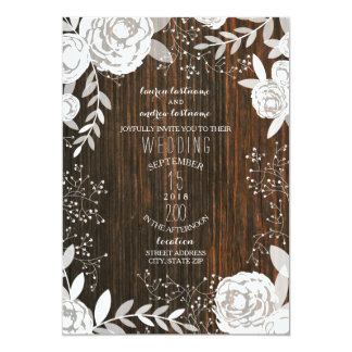 Mariage rustique floral blanc de Barnwood Carton D'invitation 12,7 Cm X 17,78 Cm