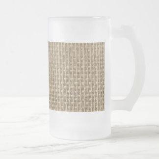 Mariage Toile de jute-Rustique de cabine de jute Mug En Verre Givré