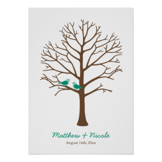 Mariage vert d'arbre d'empreinte digitale poster