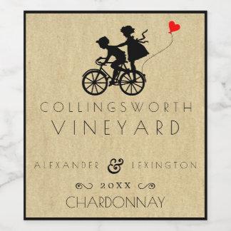 Mariage vintage de bicyclette étiquette pour bouteilles de vin