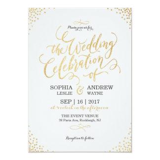 Mariage vintage de faux d'or de calligraphie carton d'invitation  12,7 cm x 17,78 cm