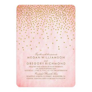 Mariage vintage de rose de confettis d'or carton d'invitation  12,7 cm x 17,78 cm
