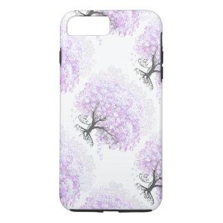 Mariage vintage d'oiseau d'arbre de lavande de coque iPhone 7 plus