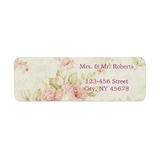 mariage vintage floral de rose élégant de rose étiquettes d'adresse retour