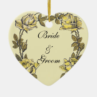 Mariage vintage, guirlande antique jaune de rose ornement cœur en céramique
