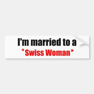 Marié à une femme suisse autocollant de voiture