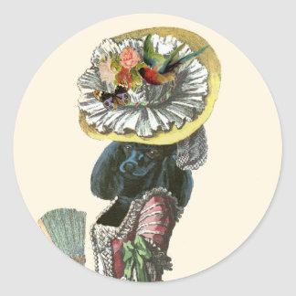 Marie Antionette Black Poodle 18th Century Costume Classic Round Sticker