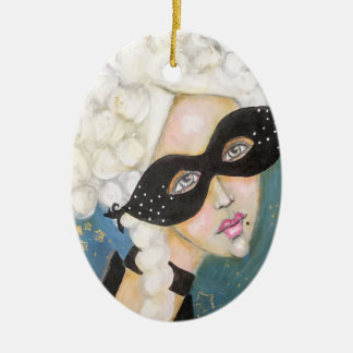 Marie Antionette Whimsical Portrait Artistic Cute Ceramic Ornament