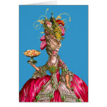 Marie Antoinette and Peacock Greeting Card