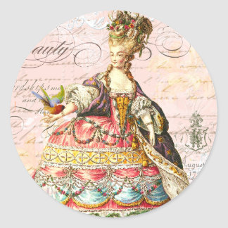Marie Antoinette and Pink Paris Classic Round Sticker
