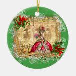 Marie Antoinette at Versailles Christmas Round Ceramic Ornament