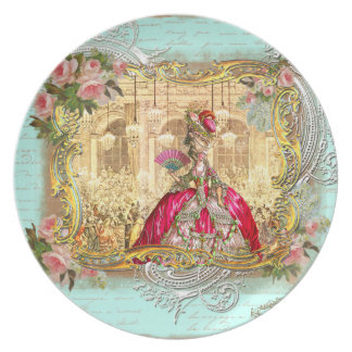 Marie Antoinette at Versailles in Blue Party Plate