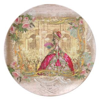 Marie Antoinette at Versailles in Pink Party Plate
