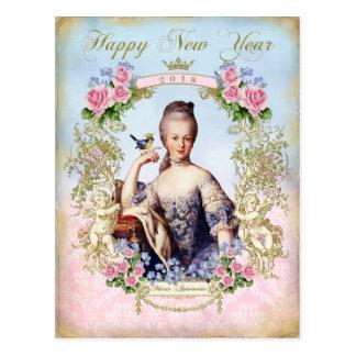 Marie Antoinette Bird Pink Roses Newyear  Postcard