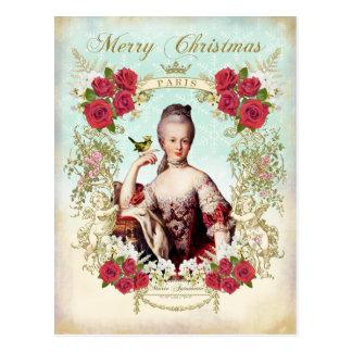 Marie Antoinette Bird Red Roses Christmas Postcard