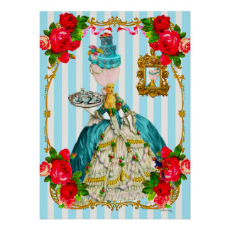Marie Antoinette Blue Cakes and Tea Giant Poster