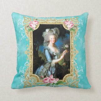 Marie Antoinette Blue Damask Rose  Pillow cushion Throw Pillow