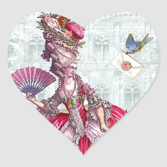 Marie Antoinette & Bluebird Heart Sticker