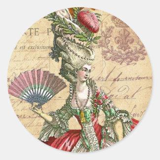 Marie Antoinette Carte Postale Parisian Seals/ Classic Round Sticker