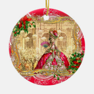 Marie Antoinette Christmas at Versailles Round Ceramic Ornament