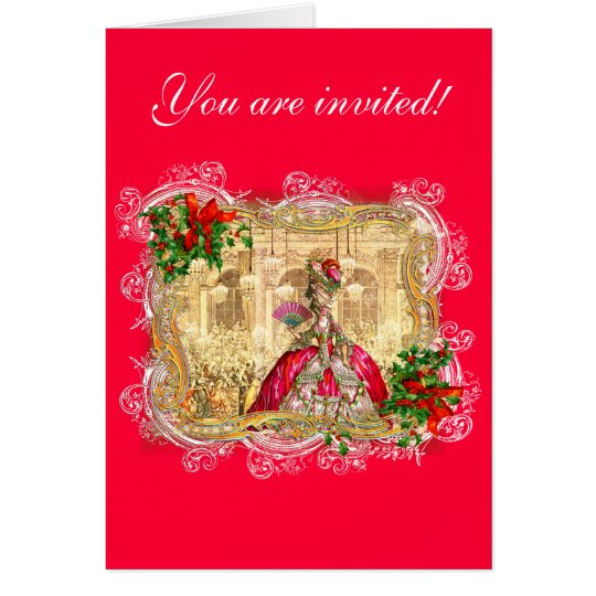 Marie Antoinette Christmas Ball Card