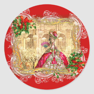 Marie Antoinette Christmas Ball Classic Round Sticker
