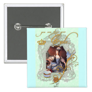 Marie Antoinette Cupcake and Bluebird 2 Inch Square Button