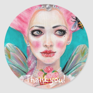Marie Antoinette Cupcake Faerie Pink Haired Fairy Classic Round Sticker