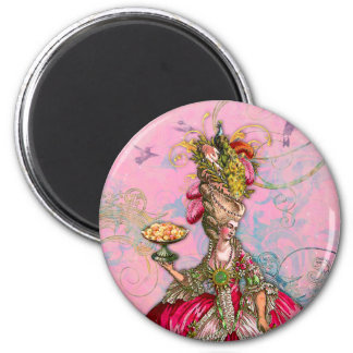 Marie Antoinette Hot Pink & Peacock 2 Inch Round Magnet
