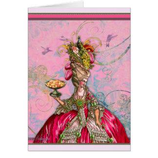Marie Antoinette Hot Pink & Peacock Greeting Card