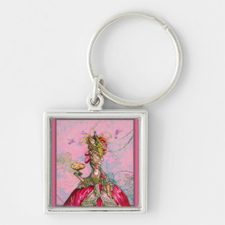Marie Antoinette Hot Pink & Peacock Silver-Colored Square Keychain