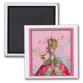 Marie Antoinette Hot Pink & Peacock Square Magnet