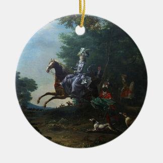 Marie Antoinette Hunting by Louis Auguste Brun Ceramic Ornament
