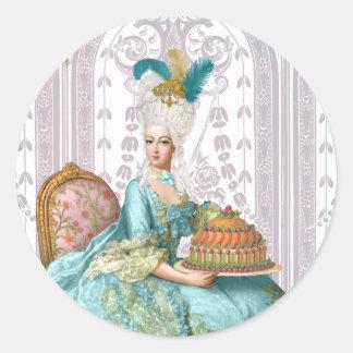 Marie Antoinette in Aqua Classic Round Sticker