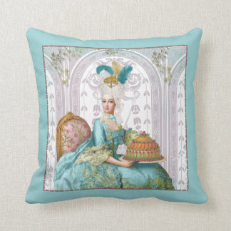 Marie Antoinette in Aqua with Cake Throw Pillow