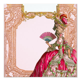 "Marie Antoinette in Hot Pink 5.25"" Square Invitation Card"