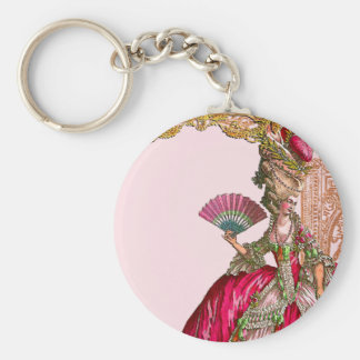 Marie Antoinette in Hot Pink Basic Round Button Keychain