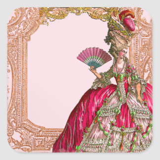 Marie Antoinette in Hot Pink Rococo frame Square Sticker
