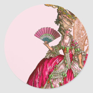 Marie Antoinette in Hot Pink Round Stickers
