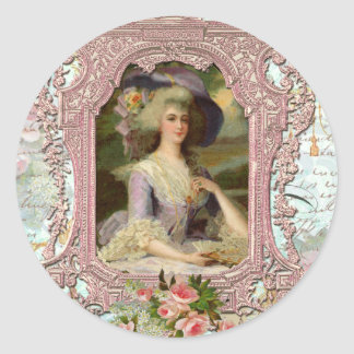 Marie Antoinette in Pink Frame Classic Round Sticker