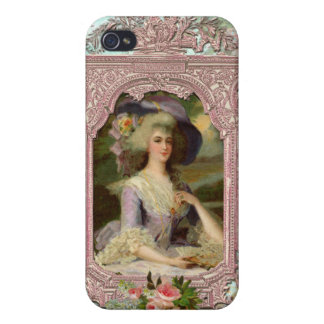 Marie Antoinette in Pink Frame Cover For iPhone 4