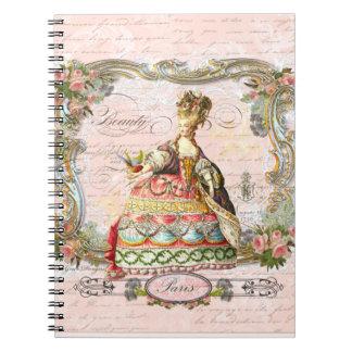 Marie Antoinette in Pink Spiral Notebook