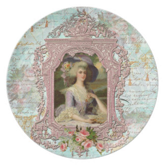 Marie Antoinette in Pink with Pink Roses Dinner Plates