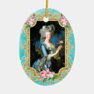 Marie Antoinette LeBrun Portrait Blue Damask Ornam Ceramic Ornament