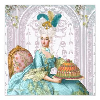 "Marie Antoinette Let them Eat Cake 5.25"" Square Invitation Card"