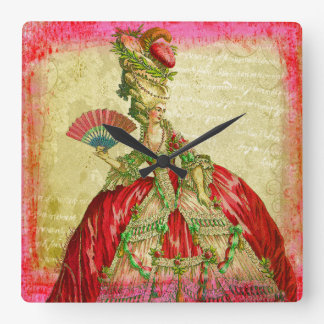 Marie Antoinette Parchment Pink Grunge Collage Art Square Wall Clock